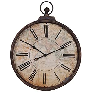 Large shabby chic rustic style metal pocket watch wall clock kitchen home - Giant stopwatch wall clock ...