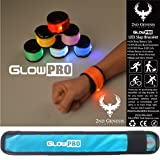 GlowPRO LED Slap Bracelets the Best Child Safety Gift - Sports Armband Cycle Gear has Neon Lights for Cycling. Glow in the Dark Reflective Running Gear, Night Vision for Jogging + Dog Walking | Blue