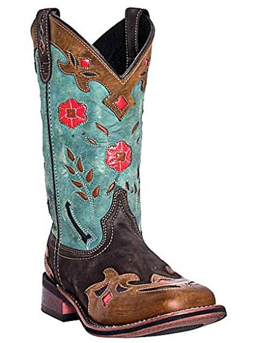 Elegant  Boots Womens Brown And Teal DP3544 Vintage Bluebird Cowboy Boots