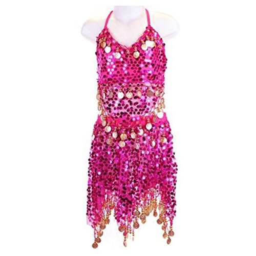 Pilot-trade Kid's Belly Dance Costume Girls Sparkly Circle Sequin Coins Top & Skirt