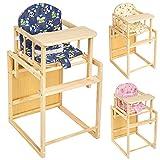 TecTake Chaise Haute de Bébé pour Enfants Grand Confort en Bois – diverses couleurs au choix – (Bleu)