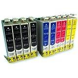 10 Druckerpatronen kompatibel für Epson T0711 T0712 T0713 T0714
