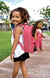 Badger Basket Star Pattern Doll Travel Backpack with Plush Friend Compartment Fits American Girl Dolls, Pink