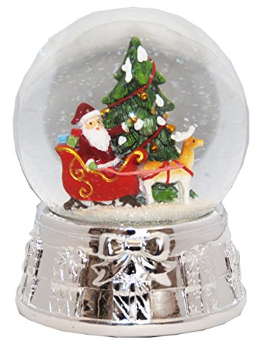 20075 Snow globe Christmas Tree Santa Silver Base music box, 5.5 inch height