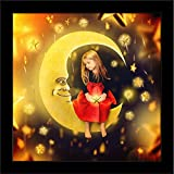 ArtzFolio Girl On A Bright Moon With Falling Stars - Micro Size 7.0 Inch X 7.0 Inch - PREMIUM CANVAS Wall Paintings With BLACK FRAME : DIGITAL PRINT Wall Posters Art Panel Like Hand Paintings : Home Interior Wall Décor Photo Gifts & Decorative