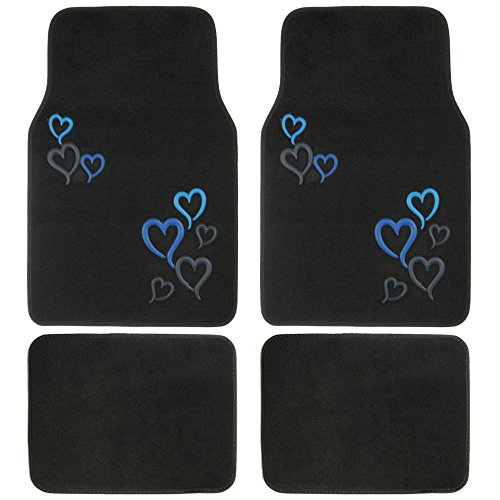 BDK Love Story Blue Design Carpet Floor Mats for Car SUV - 4 Piece Set, Blue, Licensed Prodcuts, Secure Backing (Disney Car Floor Mats compare prices)