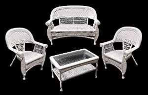 Amazon 4 Piece White Resin Wicker Outdoor Patio Set