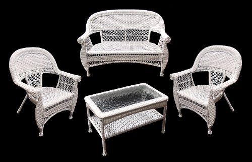 Black Friday 4 Piece White Resin Wicker Outdoor Patio Set Table Loveseat And Chairs Cyber