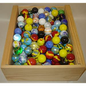 Image: Mega Marbles - Set of 12 Assorted Shooter Marbles. 100% Glass. Each shooter marble is approx. 1 inch in diameter.