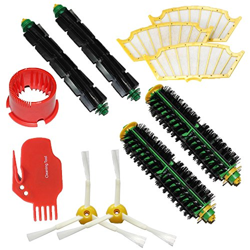 Shp-Zone Brush Cleaning Tools & Bristle Brush & Flexible Beater Brush & Side Brush 3-Armed & Filters Pack Mega Kit For Irobot Roomba 500 Series Roomba 510, 530, 535, 540, 550, 560, 570, 580, 610 Vacuum Cleaning Robots All Green, Red, Black Cleaning Head front-537128