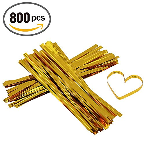 800pcs Metallic Reusable Gold Twist Ties ,12cm Long (Gold) (Cellophane Bag Ties compare prices)