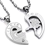 "Valentine Couples ""Love You"" Lock and Key Pendant Necklaces Stainless Steel (One Pair)"