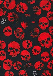 Multifunction Neckwarmer, Snood, Hat, Scarf and Hood with Red on black skull print by Monogram