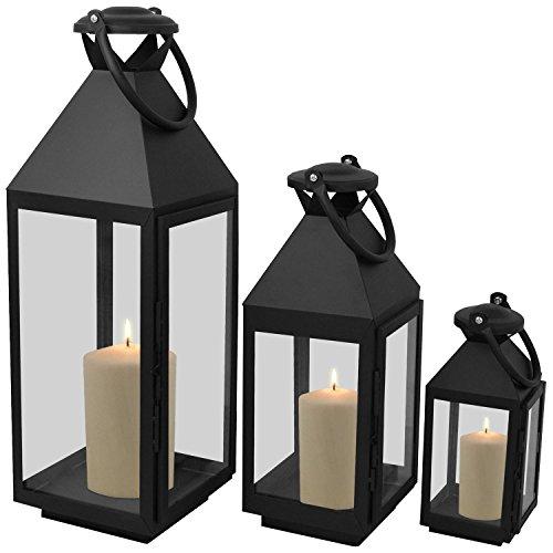 3er-Set-Laternen-mit-Henkel-H5554025cm-aus-Metall-Glas-Laternen-Windlichter-Gartendekoration-Schwarz