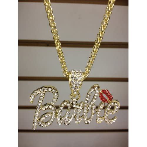 Nicki Minaj 3 BARBIE Iced Out Necklace Gold/Clear Red Lips