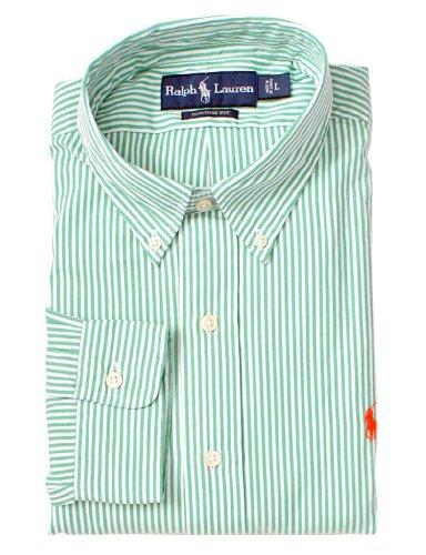Polo Ralph Lauren Custom-Fit Striped Poplin, Green, X-Large