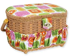 Michley Sewing Basket with Sewing Kit, 41-Piece