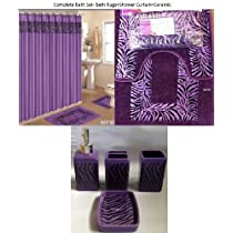 Purple Zebra Bath Accessories 19 Piece Set Including Rugs & Shower Curtain