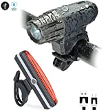 HeeBin Two Bike Light Set - USB Rechargeable And Waterproof Ultra Bright Led Front Light and 6 Modes LED Bike Tail Light Set ,Easy To Install For Cycling Safety Flashlight