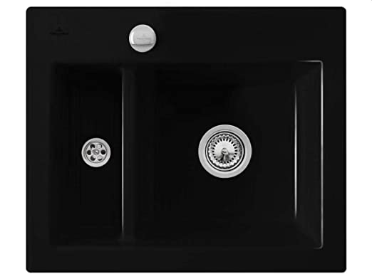 Villeroy Boch Subway &XM Flat Chromit Black Ceramic Sink / Flush-Mounted Kitchen