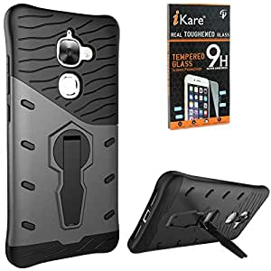 DMG Sniper Dual Layer Hybrid Back Cover Kickstand Case for LeEco Le 2 Pro (Black) + Tempered Glass Screen Protector