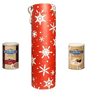 Ghirardelli Snowflake Holiday Hot Chocolate Gift Set,White Mocha Cocoa and Double Chocolate Cocoa