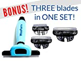 Woofurr Pet Grooming Tools Reduce Shedding By Up to 90% - Keeps Pet Hair Off Your Couch, Floor, Clothing & More - Comes With 3 Interchangeable Stainless Steel Blades - Strong Silica Gel Handle - For Dogs & Cats - Works on Short and Long Hair