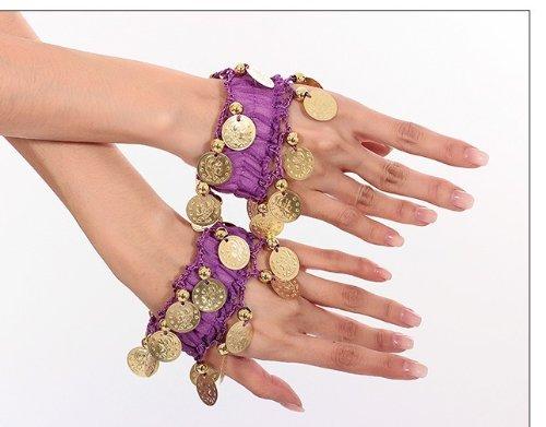 Catena della mano Belly Dance braccialetto gioielli a mano bracciali con monete color oro (coppia) in porpora NUOVO