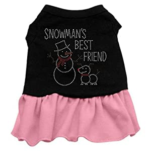 Mirage Pet Products Snowman's Best Friend Rhinestone 18-Inch Pet Dress, XX-Large, Black with Pink