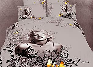 Beddinginn Sexy Marilyn Monroe and Butterflies Print 400-thread-count Cotton 4 Pieces 3d Bedding Set