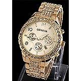 Viliysun New Geneva Chronograph Look Woman Dress Calendar Watch with Crystals Gold Tone Metal Link Gold