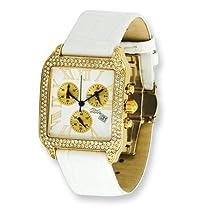 Moog Fashionista Swarovski Case/White Strap Chronograph Watch