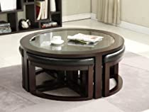 "Big Sale 40"" Round Coffee Table with 4 Wedge Stools - Espresso Finish"