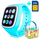 GBD-2016 Newest 1.44inch Touch Screen GPS Tracker Kids Smartwatch Wrist Sim Watch Phone Anti-lost SOS Gprs Children Bracelet Parent Control By Apple Iphone IOS Android Smartphone (Blue)
