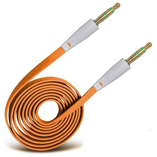 orange-35mm-jack-jack-flat-cable-aux-cavo-audio-ausiliario-per-piombo-for-huawei-ascend-y300-by-spyr