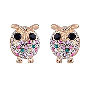 GOMO International Owl Earrings Studs 18k Gold Plated Crystal Earings