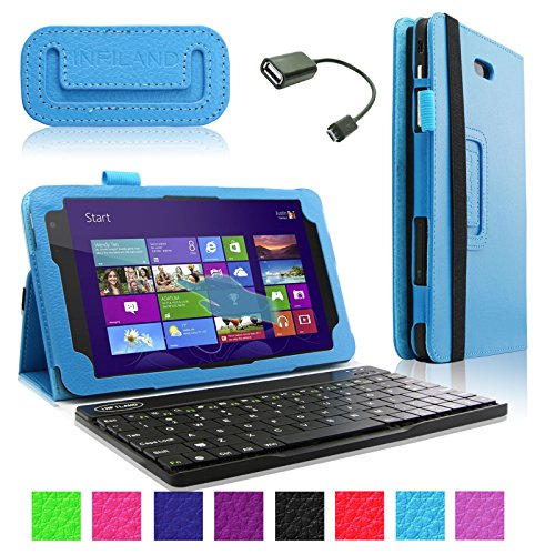 Infiland Folio Pu Leather Slim Fit Stand Case Cover For Dell Venue 8 Pro 32Gb/64Gb Model 5830 Windows 8.1 8-Inch Tablet + Bluetooth Keyboard + Free Otg Cable (Dell Venue 8 Pro Windows 8.1 Tablet, Sky Blue)