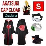 Naruto cosplay traje Set para Deidara - Capa con capucha Akatsuki + anillo + Naruto venda + Naruto Akatsuki Zapatos,Tama�o S:160-165 cm