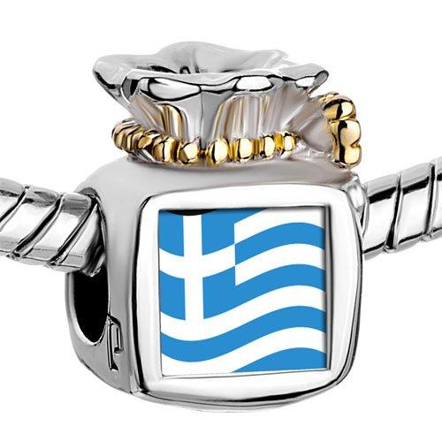 Pugster Two Tone Money Bag Greece Flag photo Beads Fits Pandora Charm Chamilia Biagi Bracelet