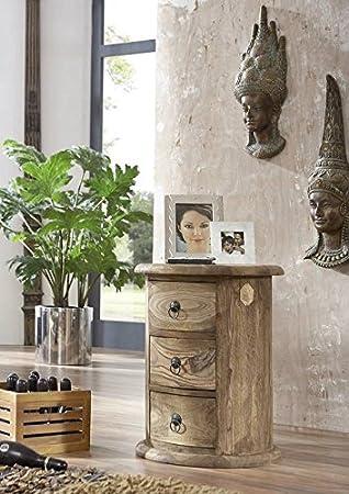 Mobili in legno massiccio stile coloniale a forma di palissandro trattato comò oval Sheesham grigio stile coloniale in legno massiccio Möbel Robin #17