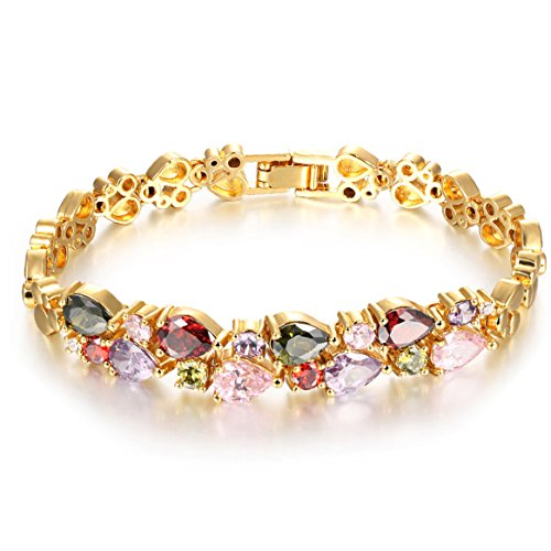 Girl Era 18K Multi-Gemstone and Diamond Tennis Bracelet Gold Heart Bracelets (Diamond And Gem Bracelets compare prices)