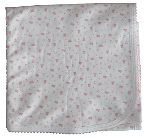 Kissy Kissy Baby-Girl Infants Hearts and Stars Print Blanket-Pink-One Size