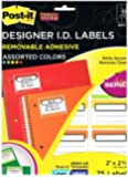 Post-it® Designer I.D. Labels, Assorted Colors, 2 in x 2 5/8 in, 75/Pack