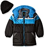 iXtreme Big Boys' Tonal Colorblock Puffer with Hat, Black, 8