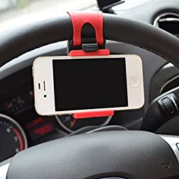 Car Mount, Costech Steering Wheel Stand GPS Rubber Band Holder for Iphone 6,6s,6plus,5s ,Samsung Galaxy S6,S5,Note 5,4,3,Other Not More than 5.5 Inch Moblie Phone(Red)