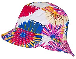 Tropic Hats Lightweight Hawaiian/Floral Designed Floppy Bucket Cap (One Size) - White/Red/Blue