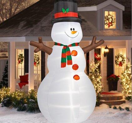 12 tall airblown christmas snowman inflatable garden for Air blown christmas decoration