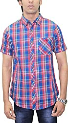 AA' Southbay Men's Maroon & Blue Twill Checks 100% Premium Cotton Half Sleeve Casual Shirt