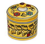 """Ceramic 3.6"""" Yellow Cotton Balls Canister - Decorative Cotton Swab Holder Hand Painted with Floral Patterns - Round Cotton or Knick-Knack Keepsake Box with a Lid - Elegant Bathroom Accessories from India - Perfect for Bathroom Décor"""