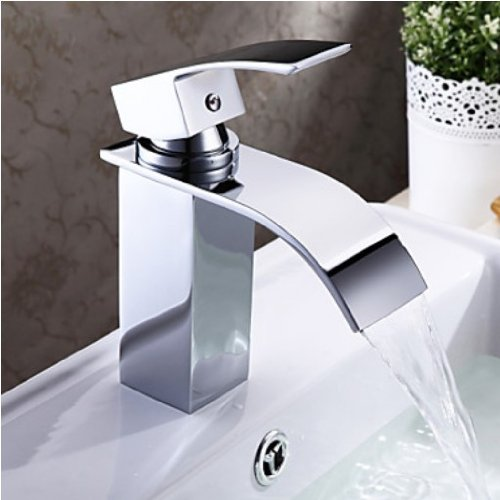 Contemporary Waterfall Bathroom Sink Mixer Tap Chrome Finish Basin Faucet